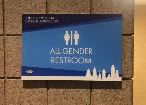 Gender neutral restroom at the Wells Fargo Center for the Democratic National Convention. Photo by Sara Ritsch.