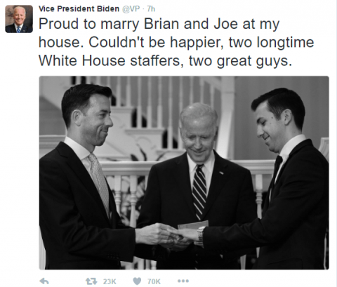 VP Joe Biden's Tweet about marrying gay couple